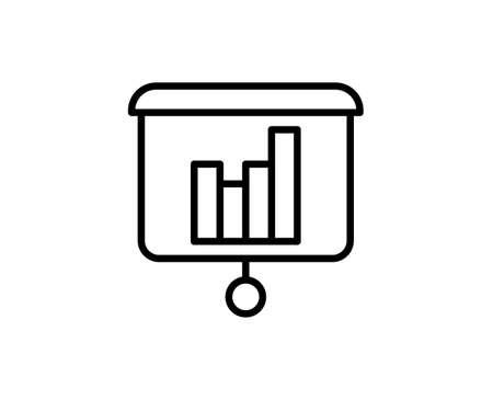 Line Presentation icon isolated on white background. Outline symbol for website design, mobile application, ui. Presentation pictogram. Vector illustration, editorial stroke. Eps10