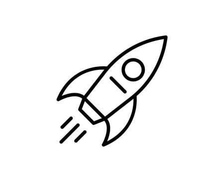 Rocket line icon. Vector symbol in trendy flat style on white background. Web sing for design. Illusztráció