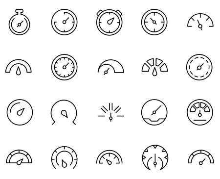 Speedometer set line icons in flat design with elements for web site design and mobile apps. Collection modern infographic symbol. Speedometer vector line pictogram