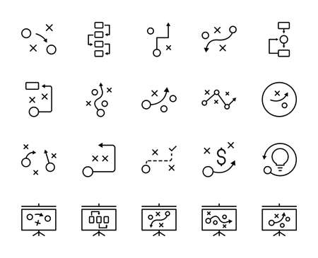 Strategy line icon set. Collection of vector symbol in trendy flat style on white background. Web sings for design. Stock Illustratie