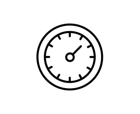 Speedometer flat icon. Single high quality outline symbol for web design or mobile app. Speedometer thin line signs for design logo, visit card, etc. Outline pictogram Illusztráció