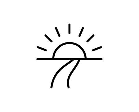 Sunset line icon. Vector symbol in trendy flat style on white background. Sunset sing for design.