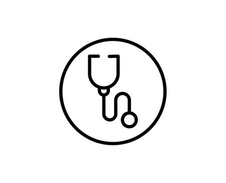 Stethoscope flat icon. Thin line signs for design. Single high-quality outline symbol for web design or mobile app. Stethoscope outline pictogram.