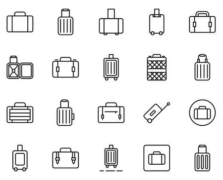 Suitcase line icon set. Collection of vector symbol in trendy flat style on white background. Suitcase sings for design. Illustration