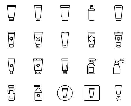 Sunscreen line icon set. Collection of vector symbol in trendy flat style on white background. Sunscreen sings for design.