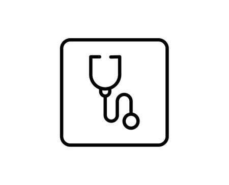 Stethoscope flat icon. Thin line signs for design, visit card, etc. Single high-quality outline symbol for web design or mobile app. Stethoscope outline pictogram.