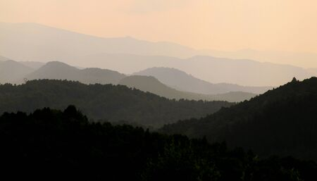 Colors, shape and lines of hills at sunset outdoors in natural environment