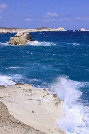 Sarakiniko beach in north of Milos island, Cyclades, Greece. Milos is one of the southern Cyclades islands in the archipelago Stok Fotoğraf