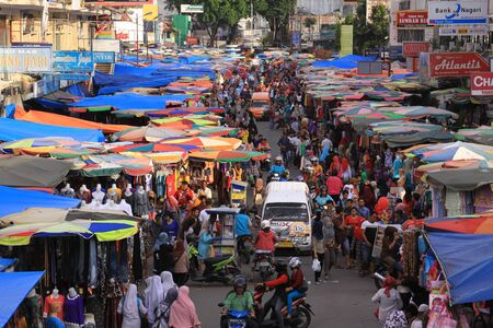Very crowded traditional market Pasar Raya in Padang, West Sumatra, Indonesia