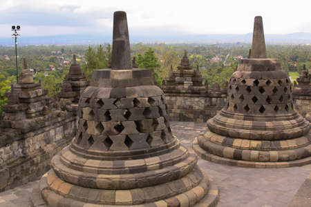 Borobudur temple perspective in Java Indonesia. Candi Borobudur is the largest Buddhist temple outside of India and one of the most important tourist attraction in Indonesia