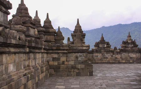 Borobudur temple base lever or platform, in Java, Indonesia. Candi Borobudur is the largest Buddhist temple outside of India and one of the most important tourist attraction in Indonesia.