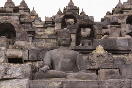 Borobudur temple in Java Indonesia. Candi Borobudur is the largest Buddhist temple outside of India and one of the most important tourist attraction in Indonesia Editorial