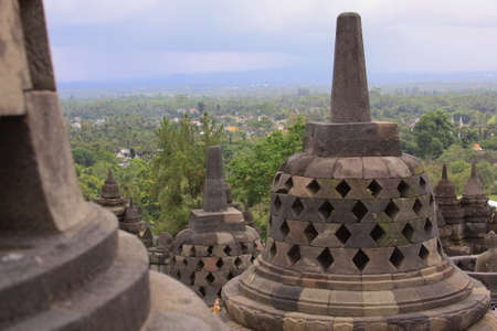 Borobudur temple and surrounding area in Java Indonesia. Candi Borobudur is the largest Buddhist temple in the world and one of the most important tourist attraction in Indonesia Editorial