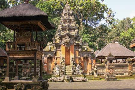 Worship shrine at hindu temple inside Monkey Forest, Ubud, Bali, Indonesia. Pura Dalem Agung Padangtegal temple at the Monkey Forest Sanctuary
