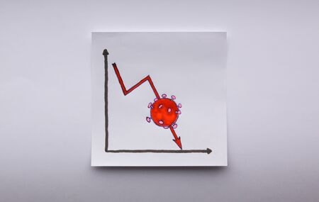 Drawing on paper note showcasing the bear market trend in the stock exchange. The Covid-19 virus or Coronavirus epidemic is one of the factors contributing to the current price crash and downfall Stock Photo
