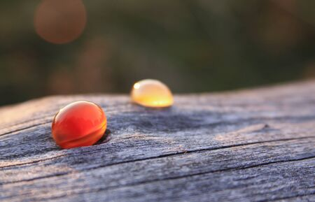 Two red and creamy yellow chalcedony agate gemstones on wooden background shining in the sunlight. Chalcedony gems come in a variety of different colors and are usually polished in round shape.