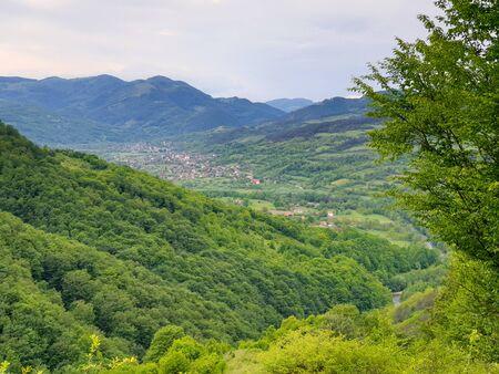 Traditional Salciua village in Apuseni mountains, Transylvania, Romania 스톡 콘텐츠