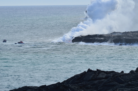 Lava smelten met de zee. Big Island, Hawai, VS. EEUU. Stockfoto