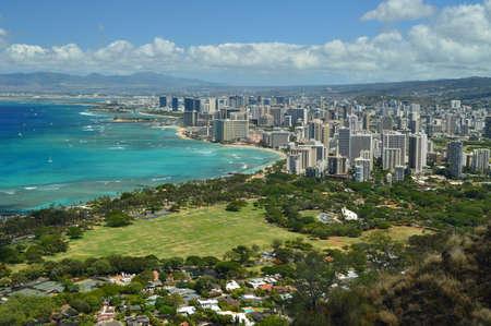 Waikiki Seen From Diamond Head. Oahu, Hawaii, USA, EEUU. Stock Photo