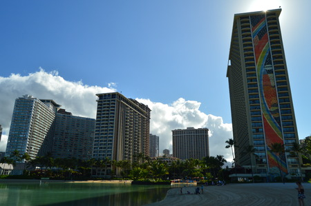 Waikiki Artificial Beach With Incredible Skyscrapers Background. Oahu, Hawaii, USA, EEUU. Editorial