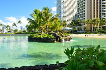 Waikiki Artificial Beach With Incredible Skyscrapers Background. Oahu, Hawaii, USA, EEUU. Stock Photo