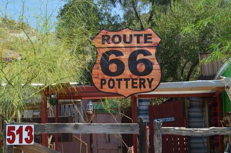 Oatman, Pottery Post Route 66. June 21, 2017. Oatman, Arizona, USA, EEUU.