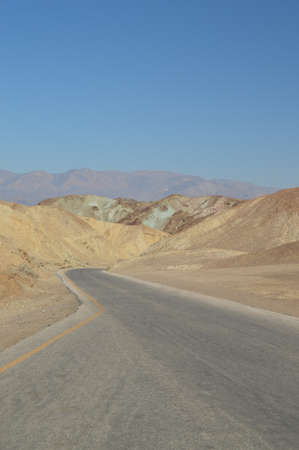 Road To View Artists Palette. The Lowest Place Below The Sea Level. Gigantic Salt Lagoons. Travel holydays Geology.  Death Valley California. EEUU. USA. Stock Photo