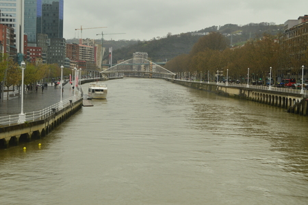 Ria De Bilbao On Its Pass By The Guggenheim Nervion River. Nature Travel Holidays. March 25, 2018. Bilbao Vizcaya Basque Country Spain.