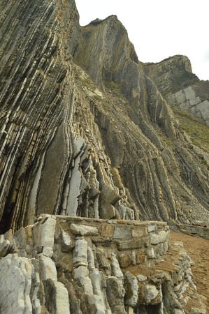 Mountain Of Geological Formations Of The Flysch Type Geopark. Itzurun Beach. Geology Landscapes Travel. Zumaia Guipouzcoa Basque Country Spain.