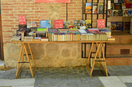 Wonderful Book Stand On The Streets Of Alcala De Henares. Architecture Travel History. May 5, 2018. Alcala De Henares Madrid Spain.