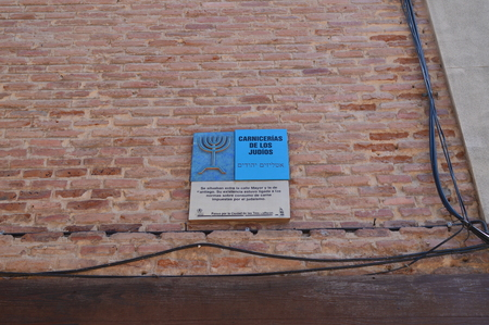 Plate Indicating The Old Delimitation Of The Jewish Quarter In This Case The Butcher Shop. Architecture Travel History. May 5, 2018. Alcala De Henares Madrid Spain. Éditoriale