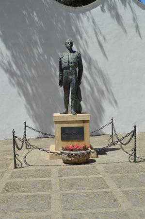 Beautiful Monument To Bullfighter Antonio Ordonez In The Bullring Of Ronda. August 4, 2016. Travel Arquitecture Holidays. Ronda Malaga Andalucia Spain. Editorial