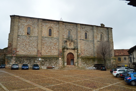 Main Facade Of The San Juan Del Mercado Church In Atienza Built In The Renaissance. Architecture, rural tourism, travel. March 18, 2016. Atienza, La Alcarria, Guadalajara, Castilla La Mancha, Spain.