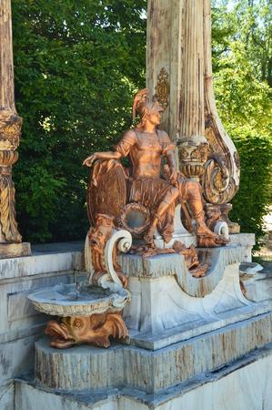 Sculpture Of Roman Legionary In The Beautiful Gardens Of The Farm. Art History Biology. June 19, 2018. La Granja Segovia Spain.