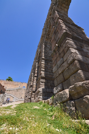 Photographs From The Base Of The Aqueduct To Be Able To Intuit Its Greatness In Segovia. Architecture, Travel, History. June 18, 2018. Segovia Castilla Leon Spain. Editorial