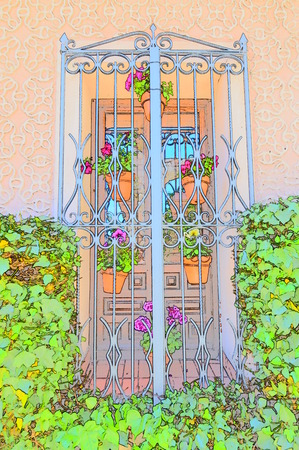Beautiful Typical Window Of Southern Spain Decorated With Colored Flower Pots For Use As Background. Screensavers Backgrounds Textures. Banco de Imagens