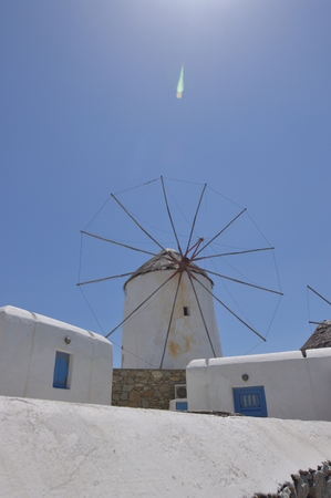 Windmills In Chora Island Of Mykonos .Arte History Architecture.3 Of July 2018. Chora, Island Of Mykonos, Greece. Stock Photo