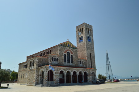 Orthodox Church Of Konstantinos On Its Main Facade. Architecture History Travel. Magnesia. Greece.