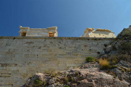 Propylaea of the Acropolis of Athens Viewed From Its Bottom. Architecture, History, Travel, Landscapes. July 9, 2018. Athens Greece.