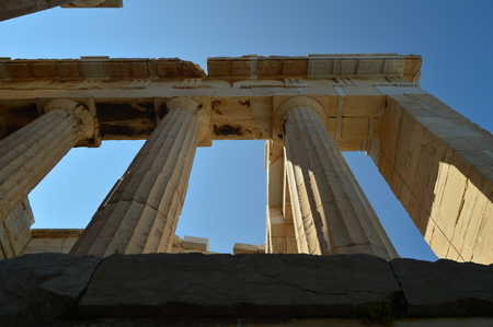 Set Of Columns Of The Acropolis Of Athens Seen From Its Bottom. Architecture, History, Travel, Landscapes. July 9, 2018. Athens Greece.
