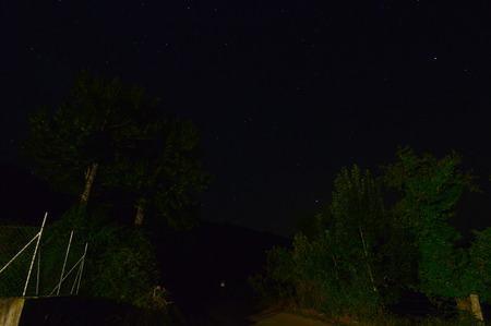 Photograph of the Stars of the Universe from a Highway Illuminated with Artificial Light. Night Photography, Landscapes, Astrology, Science. August 2, 2018. Lugo Galicia Spain. Stock Photo