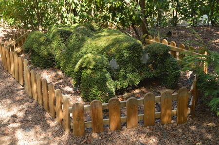 Old Racing Car Recreated In A Fern Sculpture. Banque d'images