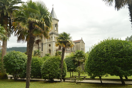 Lateral Shot Of The Church Of Jesus The Nazarene In Cudillero. Stock Photo