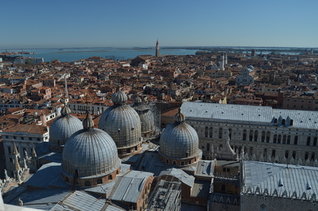 Aerial Views From The Campanille Tower Of The Roofs Of The Cathedral Of San Marcos In Venice. Travel, Holidays, Architecture. March 27, 2015. Venice, Region Of Veneto, Italy.