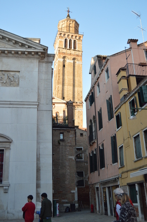 Bell Tower Of The Church Of San Mauricio In Venice. Travel, holidays, architecture. March 28, 2015. Venice, Veneto region, Italy.