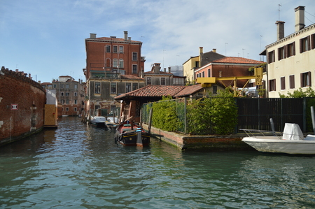 Fondamenta Della Misericordia Corner With Rio Di San Marcoula With Its Beautiful Buildings Boats Moored And Bridges In Venice. Travel, holidays, architecture. March 28, 2015. Venice, Veneto region, Italy.
