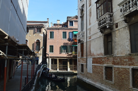 Fondamenta Folzi With The Narrow Canals In Venice. Travel, holidays, architecture. March 29, 2015. Venice, Veneto region, Italy. Editorial