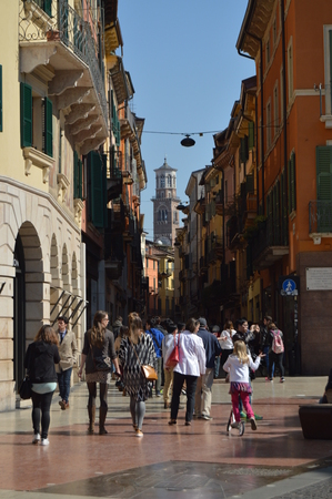 Lamberti Tower View From Via Dietro Amphitheater In Verona. Travel, holidays, architecture. March 30, 2015. Verona, Veneto region, Italy.
