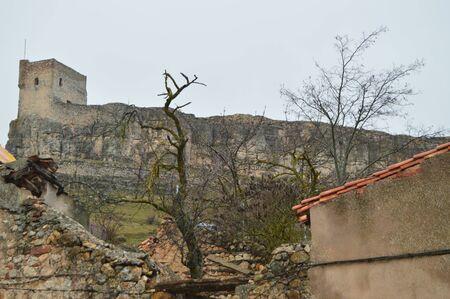 Atienza Castle Looks At The Homage Tower Dated In The Middle Ages. Architecture, rural tourism, travel. March 18, 2016. Atienza, La Alcarria, Guadalajara, Castilla La Mancha, Spain.