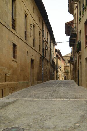 Picturesque And Narrow Streets On A Cloudy Day In Briones. Architecture, Art, History, Travel. December 27, 2015. Briones, La Rioja, Spain. Editoriali